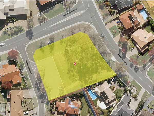 Aerial map showing the proposed amalgamation of Blocks 23 and 24 Section 31 O'Malley and adjacent car park, to create a single site known as Block 25 Section 31 O'Malley