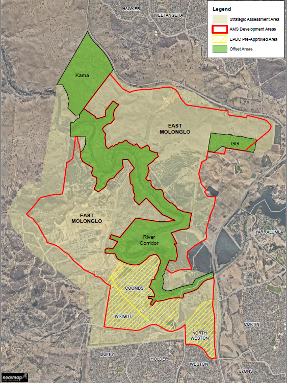 Map is showing the extent of the Molonglo Valley Strategic Assessment Area. This includes all of East Molonglo with the exception of the suburbs of North Weston, Wright and a portion of Coombs.  The  figure identifies development areas and the offset area which include the Molonglo River Corridor, Patch GG (adjacent to National arboretum) and the Kama Nature Reserve.