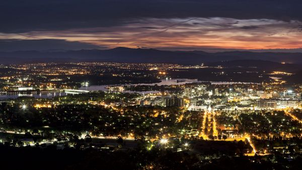 Canberra's city lights at night