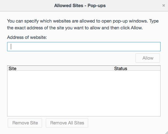 Allow pop up sites