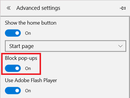 edge pop up settings